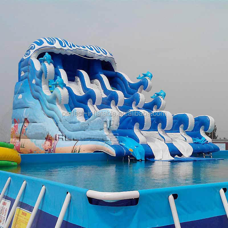 Commercial giant Inflatable water slide for adult lake inflatable water slide equipment on sale