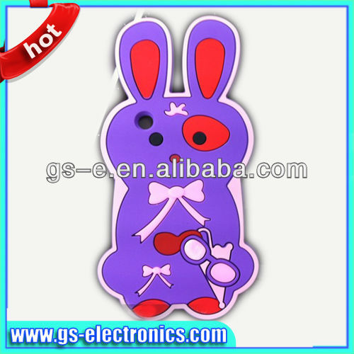 Silicone 3D rabbit cover for animal shaped iphone 5 cases
