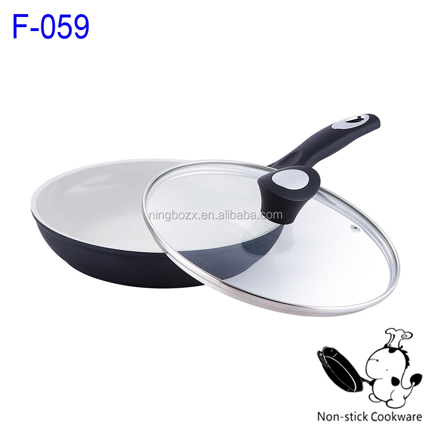 white ceramic wok balck forged nonstick ceramic fry pan with glass lid