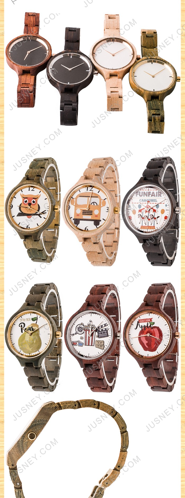 Fashion eco-friendly natural watch wood women wrist lady watch with custom brand Logo