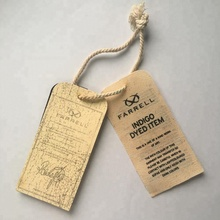 printed Cotton canvas and paper hang tag with cotton string