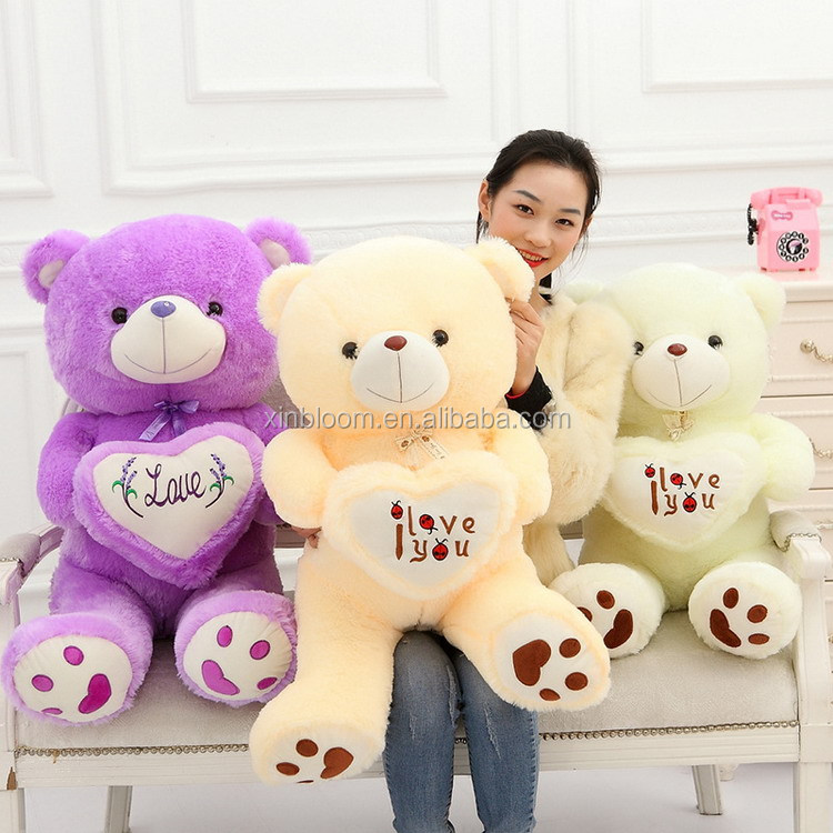 stuffed plush toy with love heart soft white beige purple teddy bear for valentine day birthday gift doll