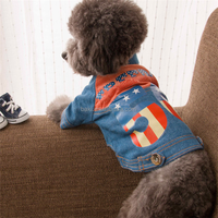 Pet dog clothes Denim mix color two feet heated dog jacket fit for Teddy