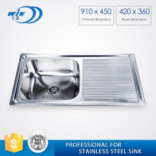 stainless steel inset catering sink commercial restaurant kitchen sink double bowl with drainboard for kitchen