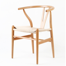 Hot selling restaurant Y dining chair wood with rattan seat
