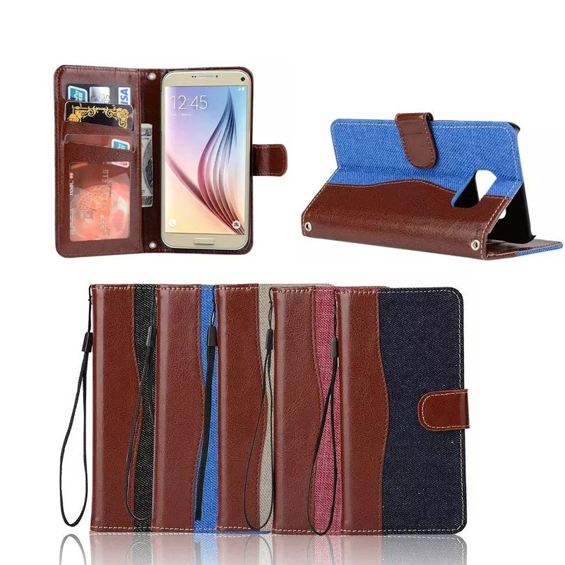 Hybrid Jeans Leather Case For Samsung Galaxy S7 Edge/G9350/G935A Phone Case With photo frame