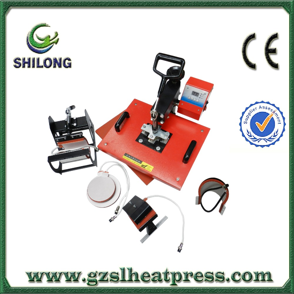 5 in 1 sublimation vacuum combo silicon wristband plastic film fabric embossing heat press printing machine for sale