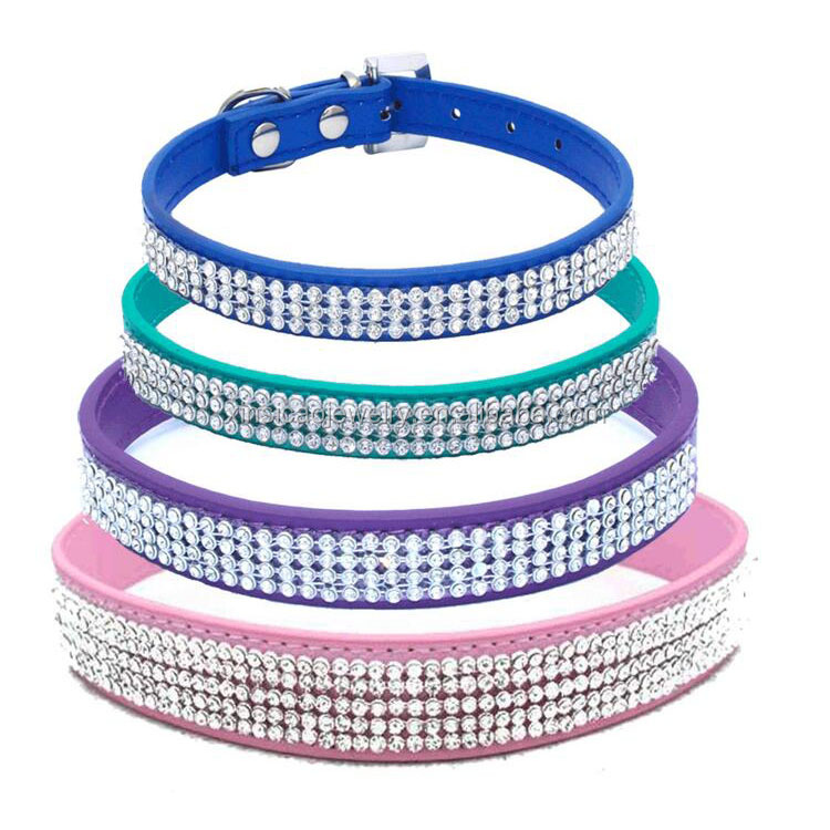 Bling Rhinestones Dog Collar Soft Padded Leather Made Sparkly Crystal Diamonds Studded /Perfect for Pet Show / Daily W