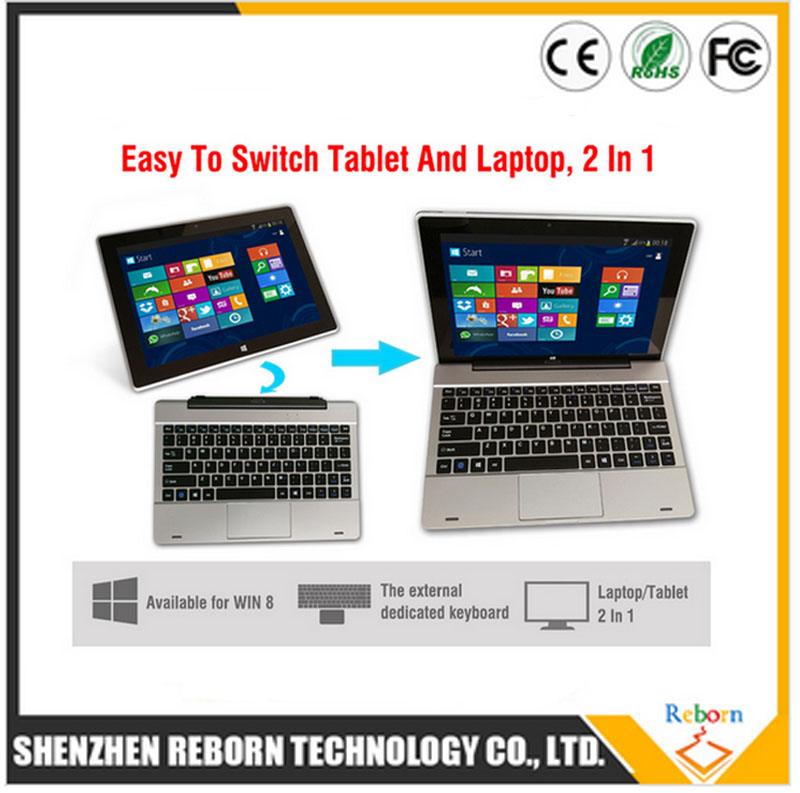 2 In 1 Convertible Laptop & Tablet, Dual OS Tablet Intel Atom Android 10.1 Inch IPS Win10 Tablet PC