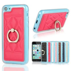 ring stand leather coated TPU case for iphone 5C