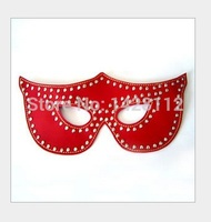 1PC New Red Shiny Rivet A1 Fetish Bondage Leather Sex Mask,Erotic Blindfold Sex Game Leather Mask Adult Toys + Free Shipping