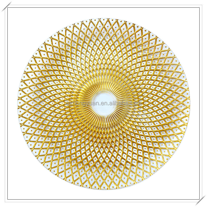 Hot Sale Big Size Round Glass Cheap Gold Charger <strong>Plate</strong>