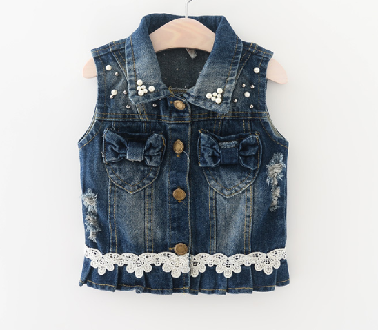 MS82991M Kids Fashion Denim Vest Design Korean Style Kids Beaded Vest