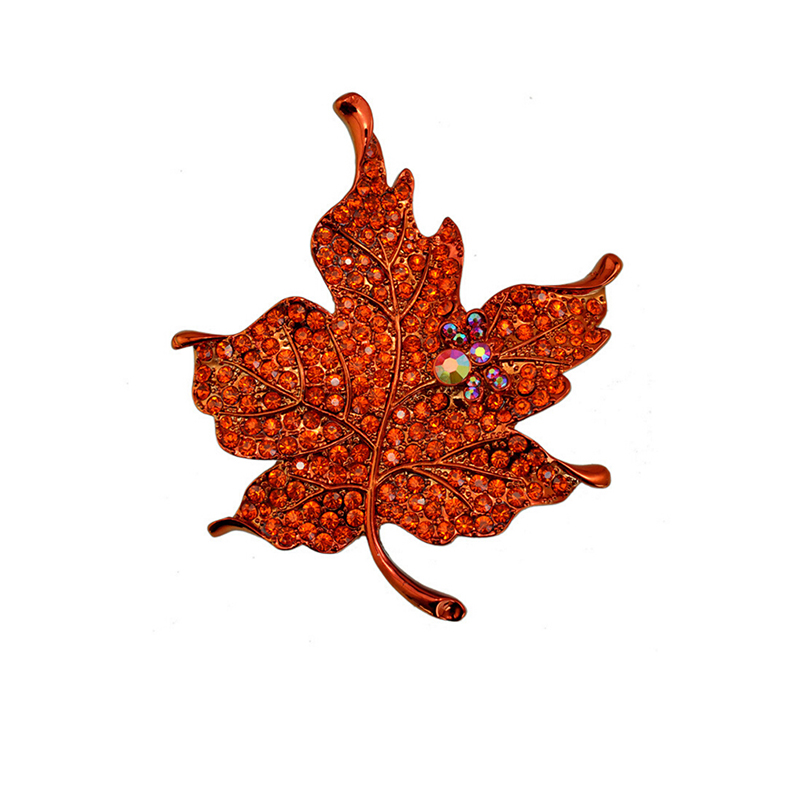 High end fashion beautiful colorful maple leaves alloy brooch accessories wholesale trade sales hot style