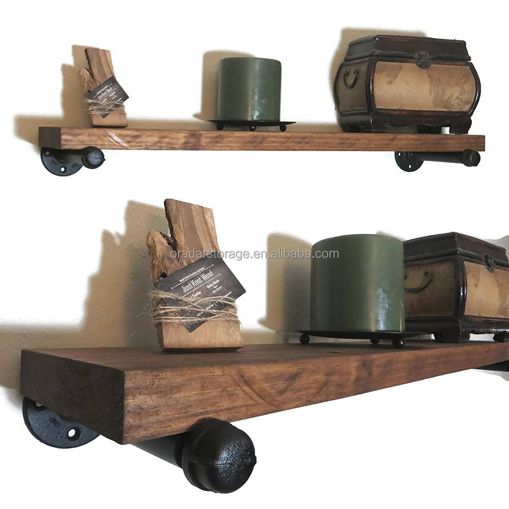 Many Sizes and Colors Available Hand Crafted Solid Wood Rustic Floating Shelf with Brackets
