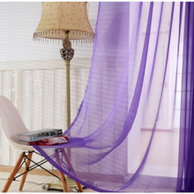 Cheap ready made purple sheer window curtain direct for sale