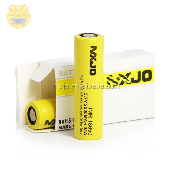 MXJO IMR Safe chemistry LiMN 3.7V rechargeable batteries with 35A 18650 2500MAH size