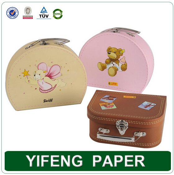 Custom Printing Size Children Toy Suitcase Packaging Box with Metal Lock and Handle