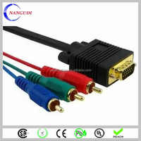 HD DB15 VGA to 3 RCA Cable for monitor projector