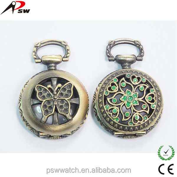 butterfly and flower fashion watch vintage erotic pocket watches kids pocket watch