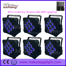 Best selling dmx 9x18watt 6 in 1 flat led par can rechargeable battery power stage light 12v light weight battery packs