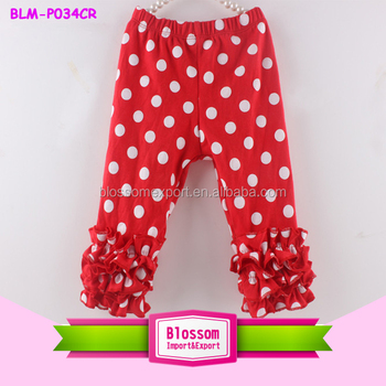 Hot selling 2016 icing ruffle capris icing pants girls icing pants red polka dots ruffle legging