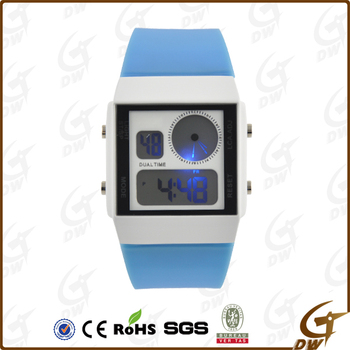 Dual Time Silicone Lcd Watch For Man and Women