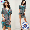 Yihao factory Women Sexy BOHO V-Neck Evening Cocktail Beach Sun Dress Bikini Swimwear Cover Up 2015