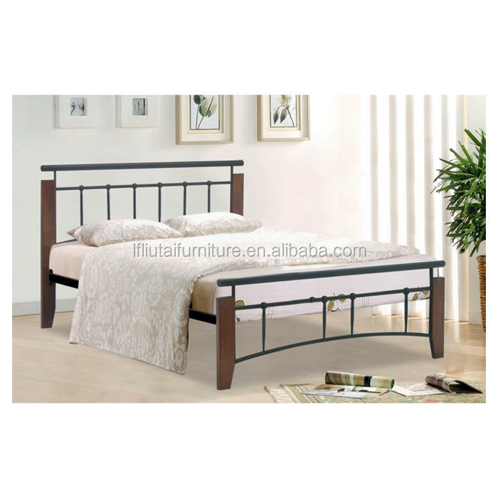 Wood leg metal bes with metal frame base metal beds