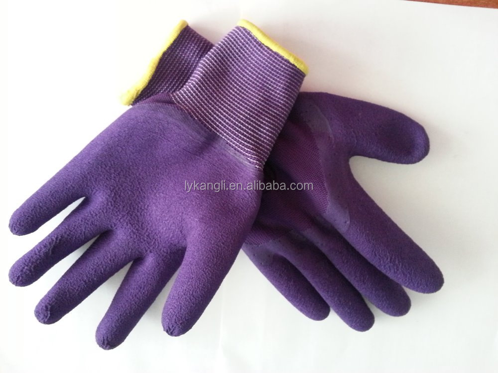 polyester gloves latex coated hand protective ppe gloves