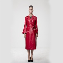 New fashion style women winter long red italian casual leather trench coat 100%real sheepskin leather coat