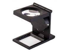Wholesale 8X Metal Folding illuminated linen tester magnifier with LED light magnifying glass
