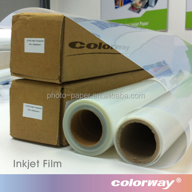 "24"" x 30m Crystal Clear Film 160gsm Roll Inkjet PET Film, Transparent Positive Screen Printing Film for Water-based Ink"