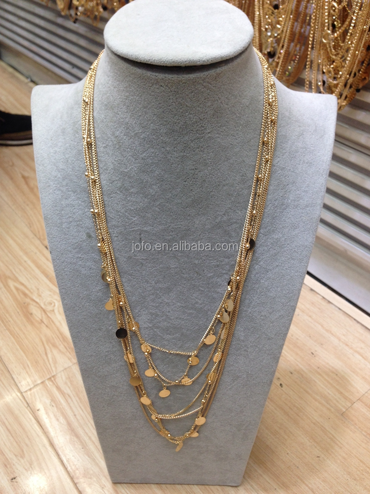 2017 gold vintage America multi layer long chain necklace with metal plate