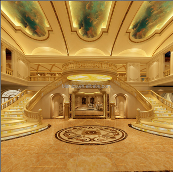 European Luxury Golden 3d Rendering Interior Design for Staircase and Entrance of Private Villa with All Material and Furnitures