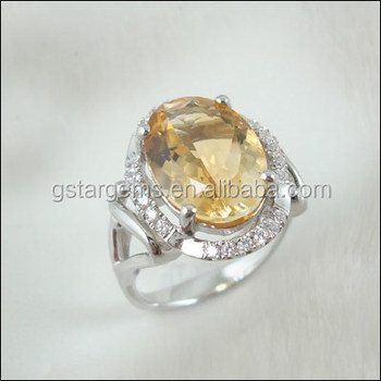 5.5CT Genuine Citrine Ring Women Wedding Ringschain925 sterling silver jewelry wholesale