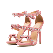 Charming 2017 wholesale lady leather fancy girls rhinestones high heel woman sandal