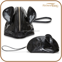 Black Metallic Mouse coin purses costom genuine leather pouch cute animals coin purse for girls