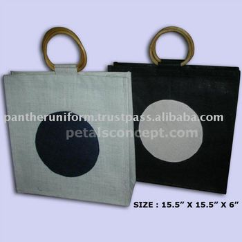 PP Laminated jute wine bag with inside seperation & with Wooden Apple shape Cane Handle