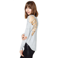 Unique design on both sides of shoulder back lacing hollow-out long-sleeved round collar female T-shirt blouses in lace