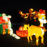 Chinese Festival Silk Lantern Santa Claus Colorful Mental Lantern For Holiday