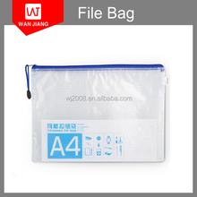 Wholesale Customized A4 A5 B5 size clear Waterproof plastic document PVC Vinyl Mesh Bag