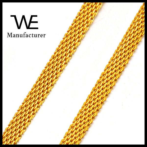 Woman Flat Long Gold Mesh Chain Necklace Stainless Steel