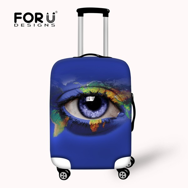 Washable Protecting Custom Plastic Luggage Cover with Eye Printing