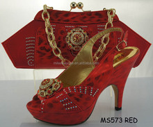 High quality ladies matching shoes and bags set/african sexy high heel shoes and matching women bag set for party MS573-4