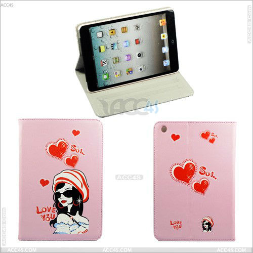 Cartoon Red Heart Stand Leather Case for iPad Mini P-iPDMINICASE061