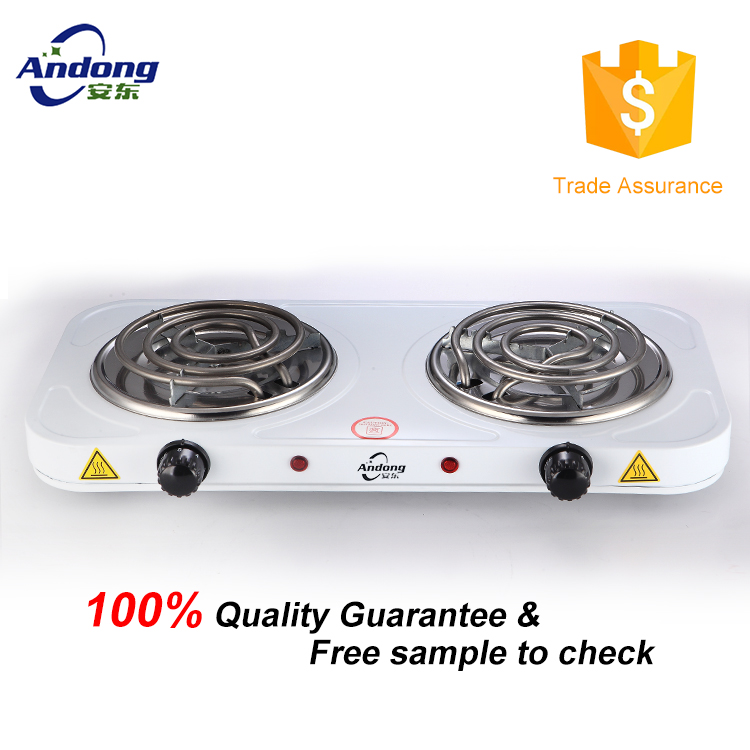 Double burner electric hot plate with coil heating element