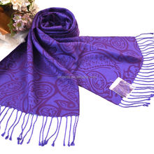 New Personalized Purple Floral Tassel Raw Wear Silk Scarf Men