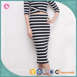 Wholesale cheap stripe sexy casual midi tight skirts patterns