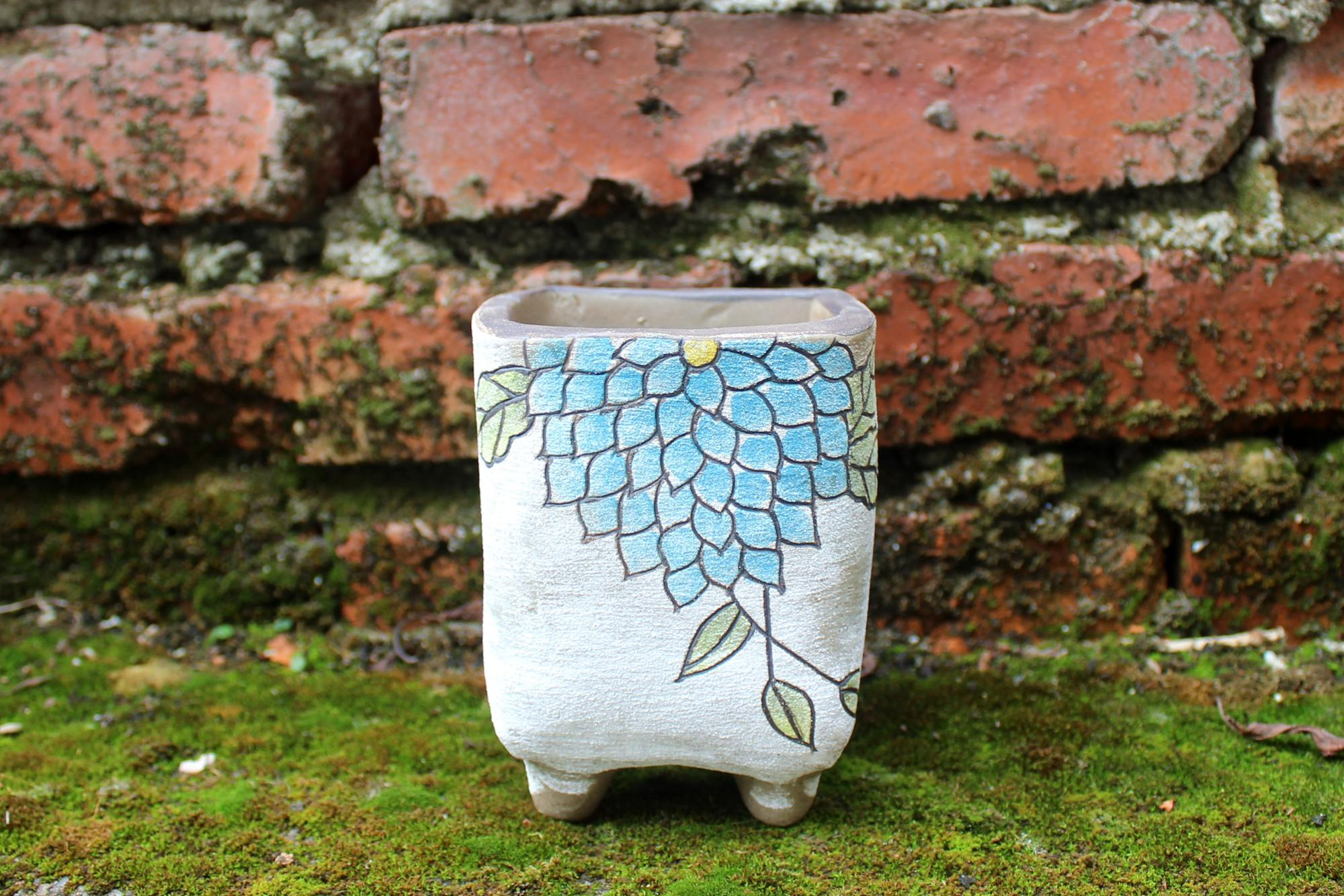 New Korean medium square hand painted grind rough small ceramic succulent flower pot